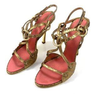 DSQUARED2 Gold snakeskin stilettos